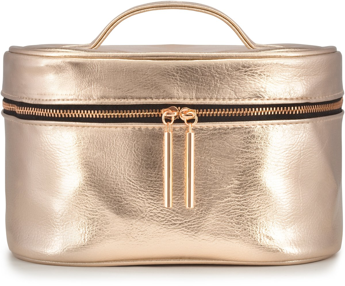 Large Rose Gold Metallic Cosmetic Makeup Toiletry Organizer Bag for Travel & Storage, Made of Vegan Leather