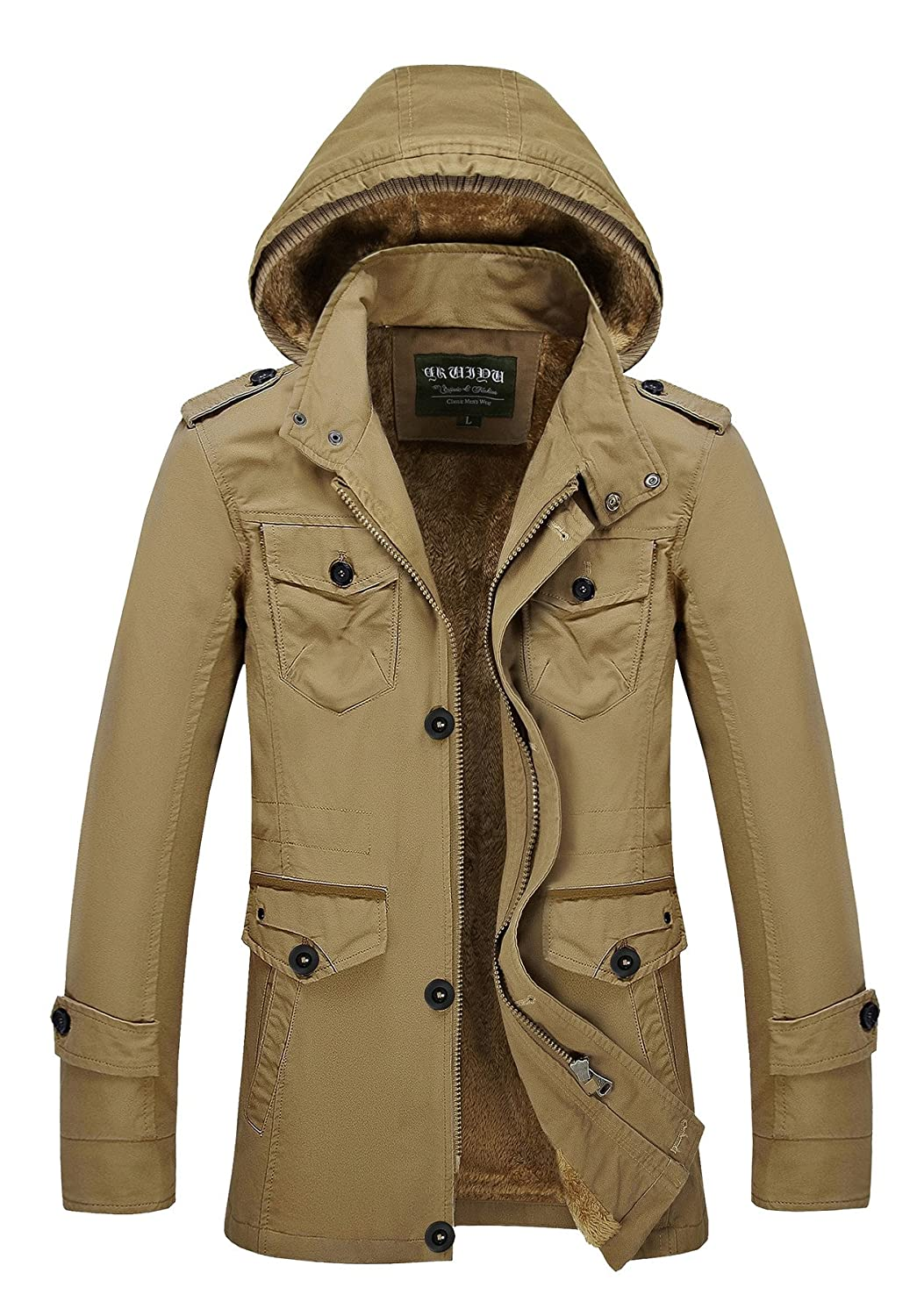 Cresay Men's Long Hooded Thick Trench Coat Winter Outwear Jackets Padded Jacket