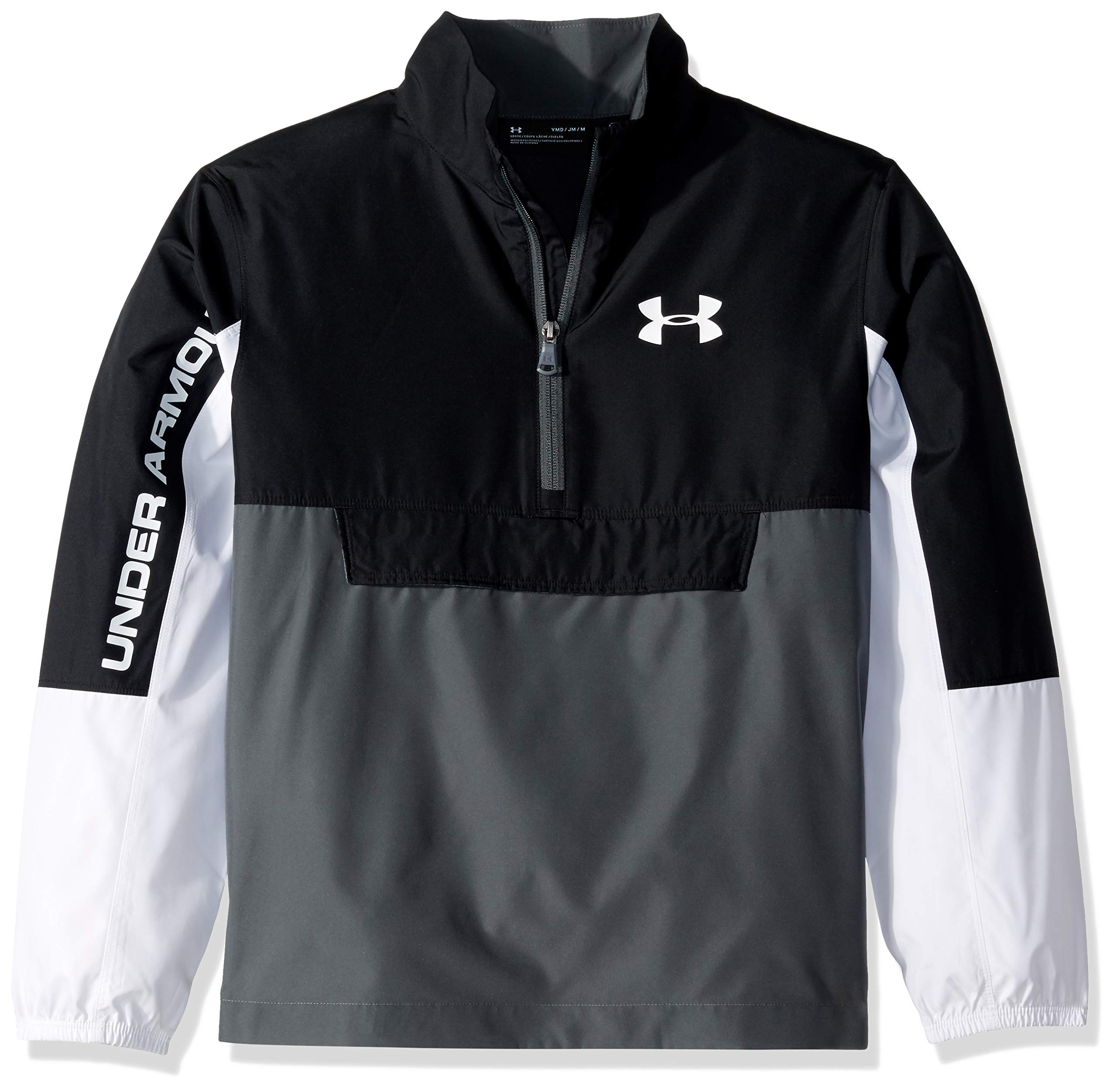 Under Armour Woven Anorak, Black//White, Youth X-Large