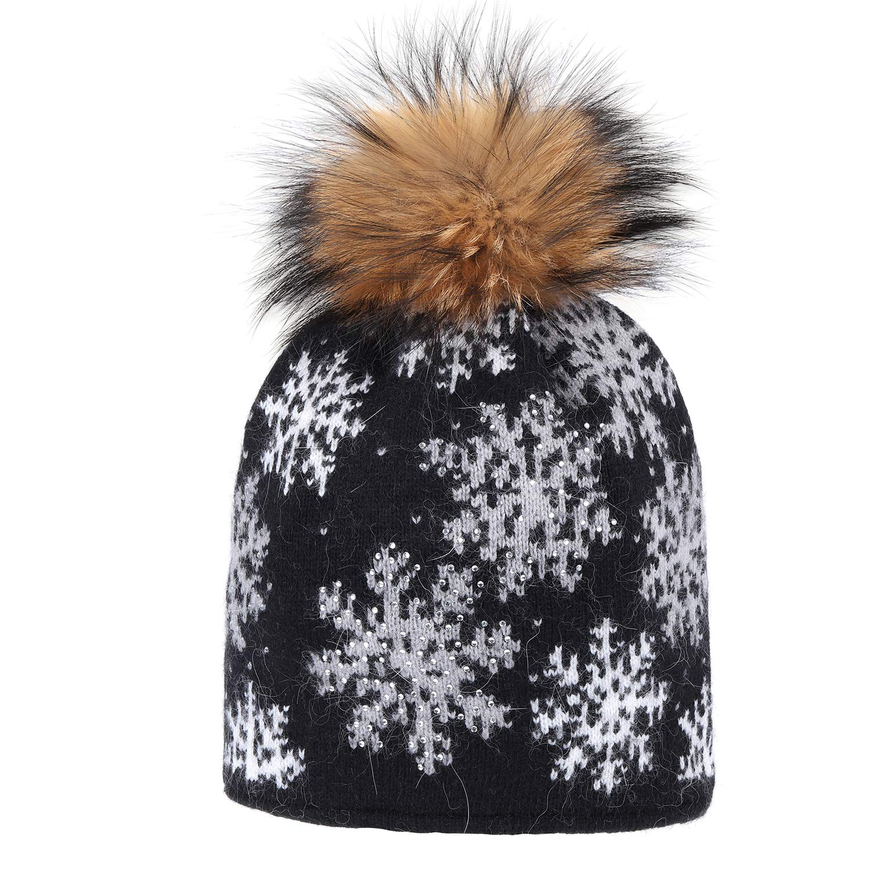 Richea Rabbit Fur Knit Snowflake Beanie Xmas Hat Women Winter Rhinestone Ski Cap with Pompom