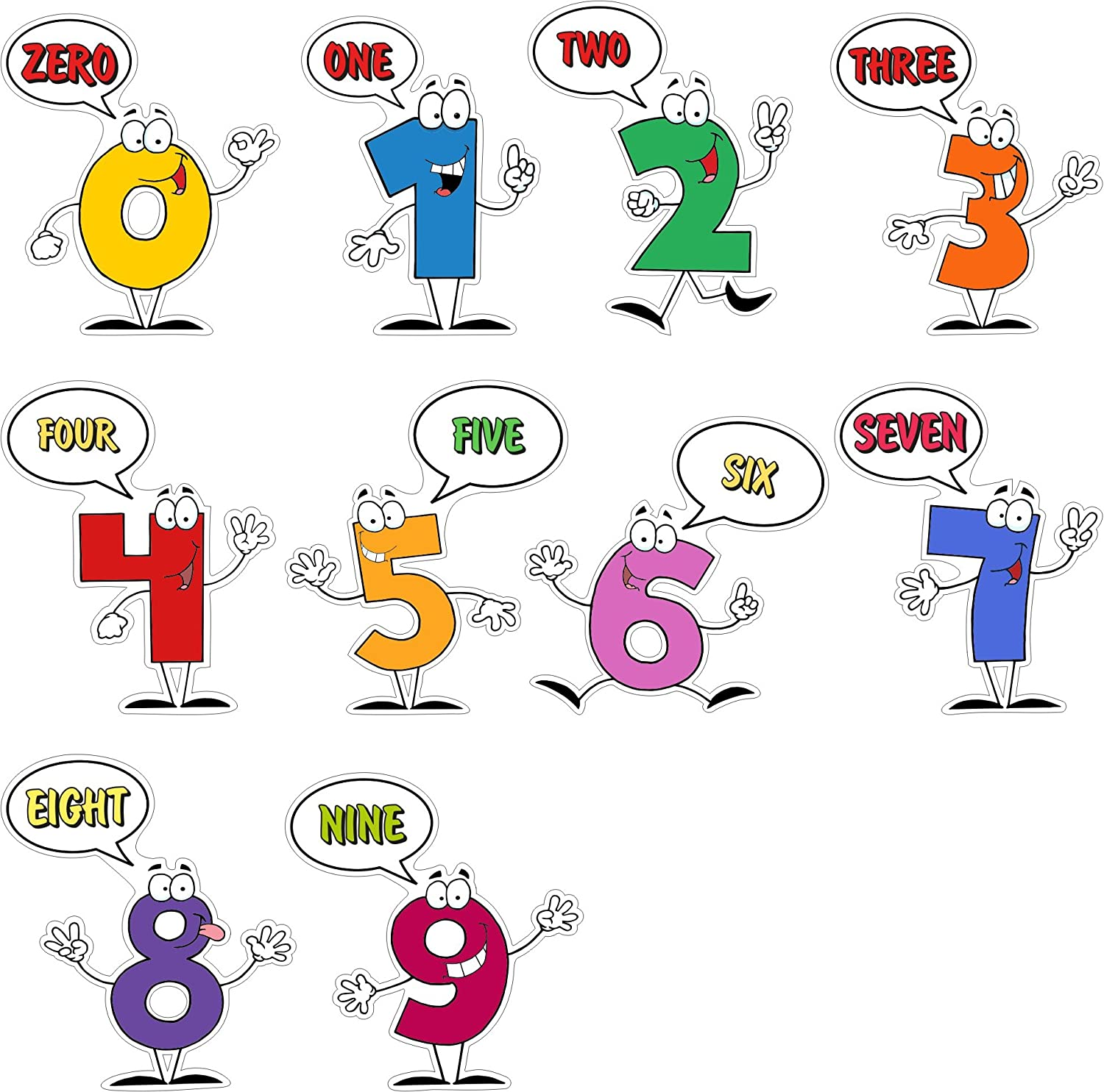 Educational Wall Stickers - Digits 0 to 9 Set of 10 Vinyl Wall Decals - Colourful Learning Tool for Kids and Pupils - Wallpaper Decoration for Nursery, Kindergarten or Classroom Vacom Advertising N1054