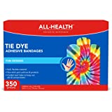 All Health Tie Dye Adhesive Bandages.75 in x 3 in, 350 ct | Fun Colorful Designs for Minor Cuts & Scrapes, First Aid…