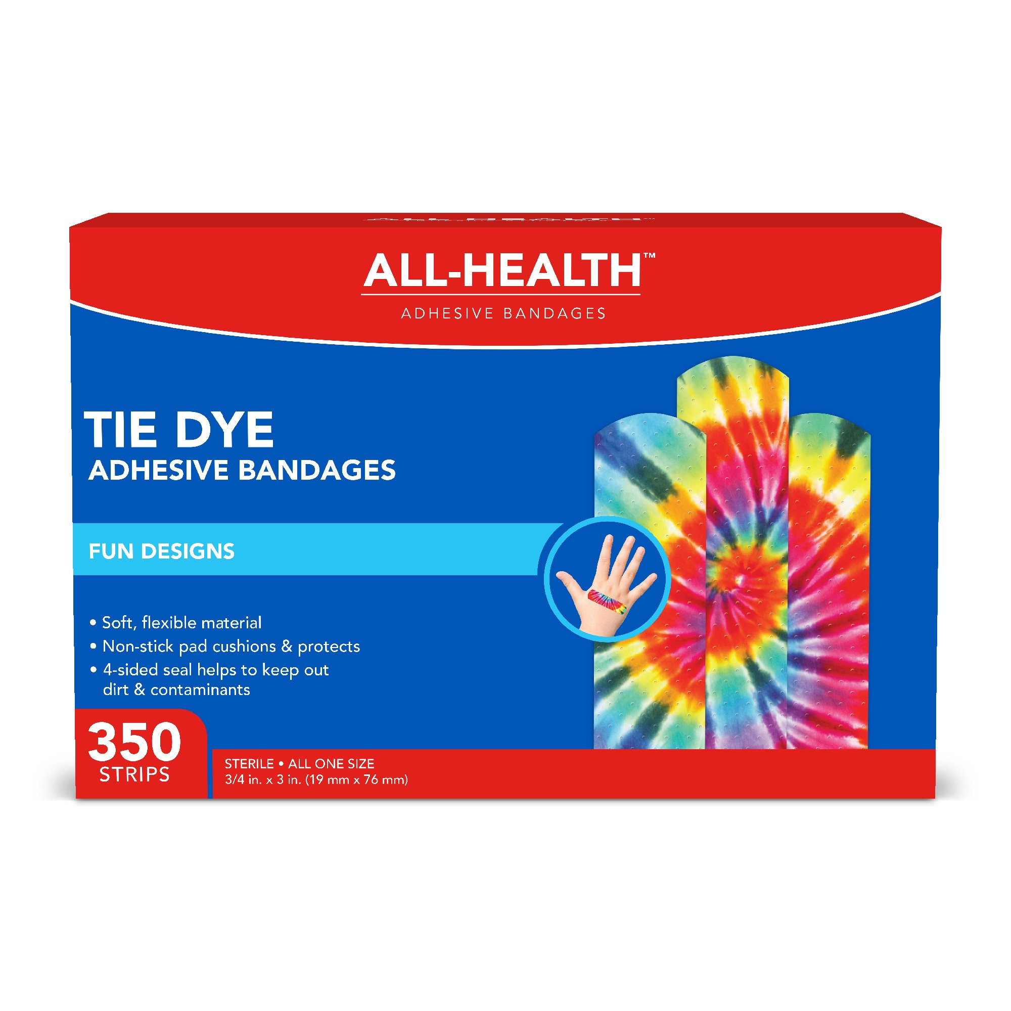 All Health Tie Dye Adhesive Bandages, 3/4'', 350Count by All Health