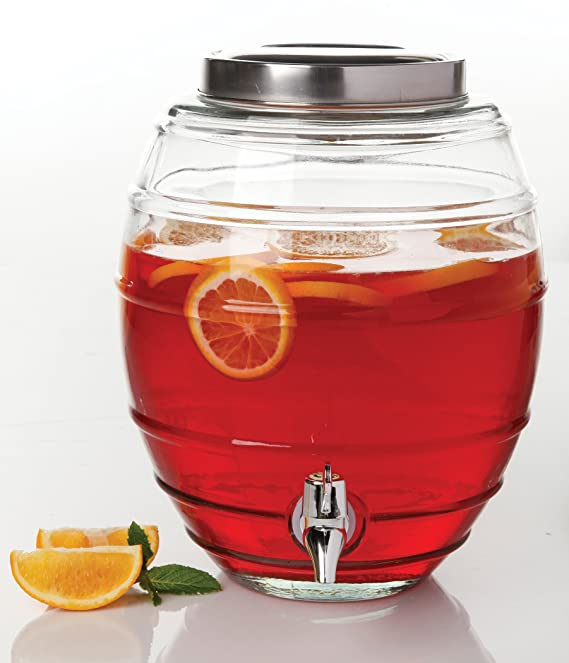 Amazon.com: Gibson Home 102345.02RM General Store Barrel Shape 2 gallon Beverage Dispenser, Clear: Kitchen & Dining