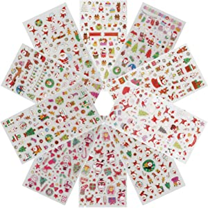 10 Sheets Cute mini Kids Christmas Stickers Decor Decorations with Snowman, Reindeer, Tree, Bell, Santa Claus, Lovely Xmas Children Stickers Toys Gifts Decals Scarpbooking Crafts for kids age 2-6
