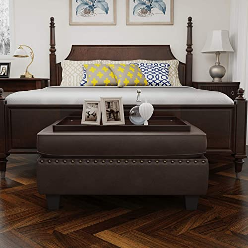 HONBAY Faux Leather Rectangle Bench