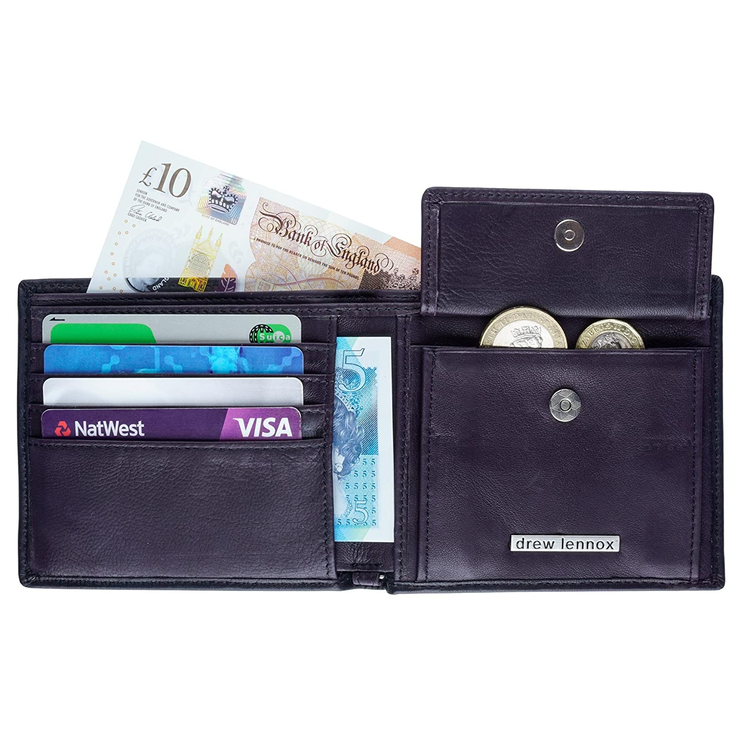 Coin Pocket Stunning English Real Leather Slim Mens Bifold Wallet