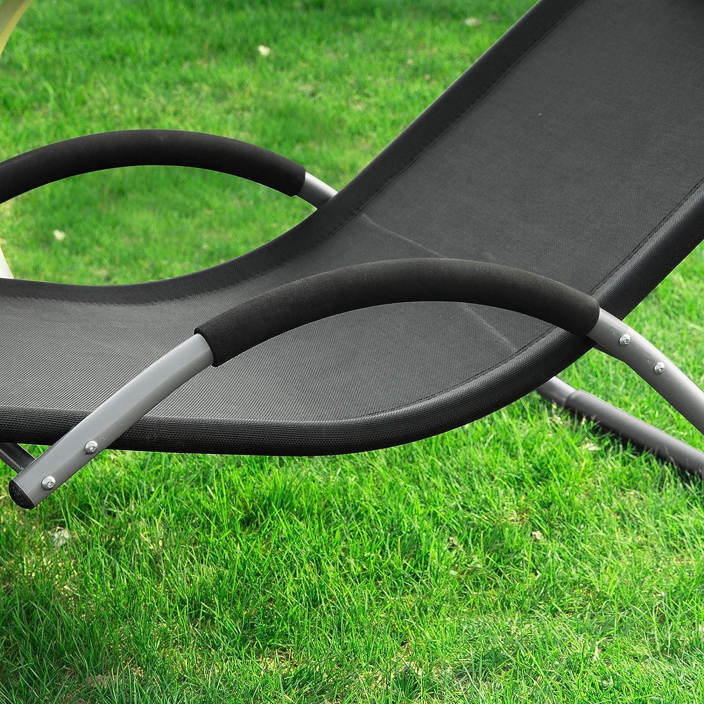 SoBuy/® OGS38-SCH Outdoor Garden Beach Sun Lounger Relaxing Chair Recliner Sunlounger