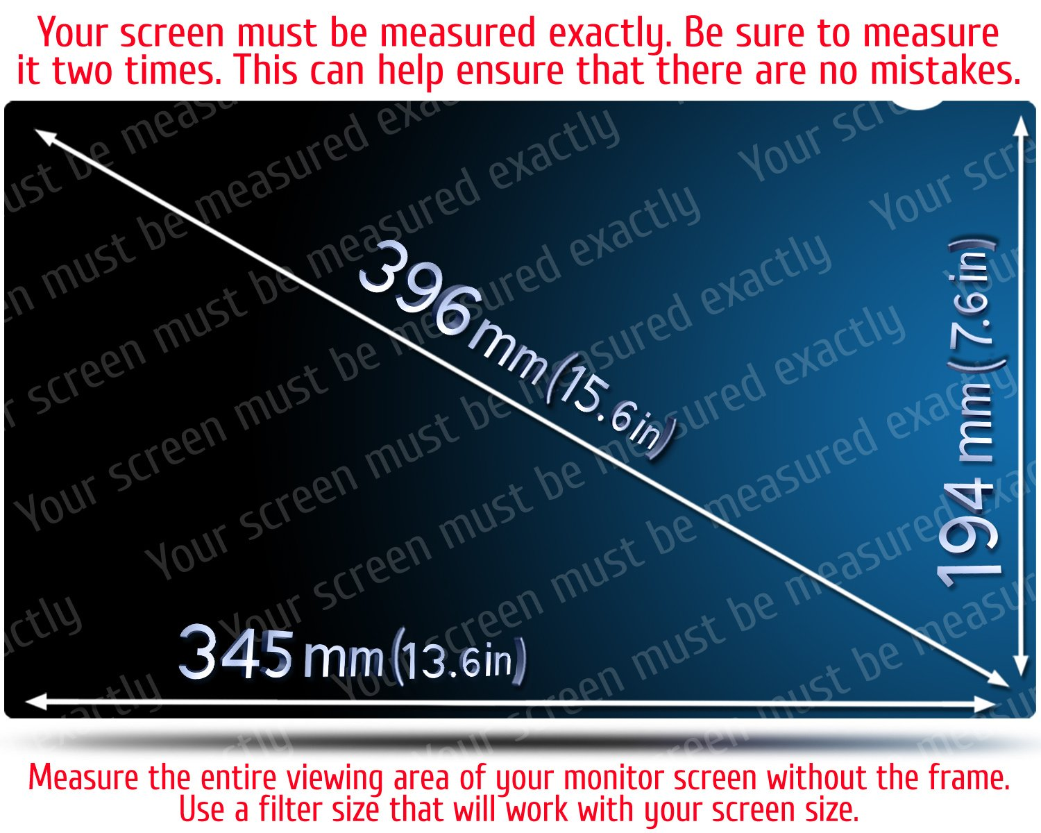 15.6 Inch Computer Privacy Screen Filter for Widescreen Laptop - Notebook - Anti-Glare - Anti-Scratch Protector Film for Data confidentiality - 16:9 Aspect Ratio. by VINTEZ (Image #2)