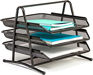 Mindspace 3 Trays Desktop Document Stackable Letter Tray Organizer | Office Paper Tray Desk Organizer | The Mesh Collection, Black