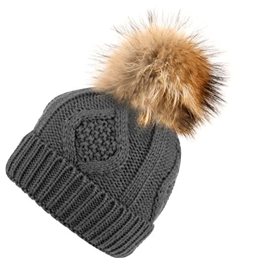 f9743d2a863 BN2355 Solid Cable Knit Real Raccoon Fur Pom Pom Skull Cap Hat Beanie (Gray)