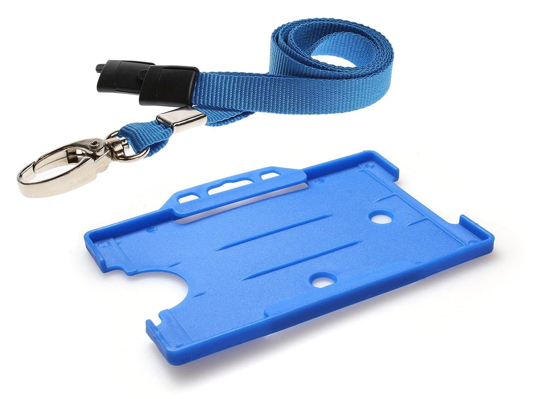 Customcard ltd® – Cordino da collo a moschettone con clip in metallo e Badge, colore: Rosso Blue