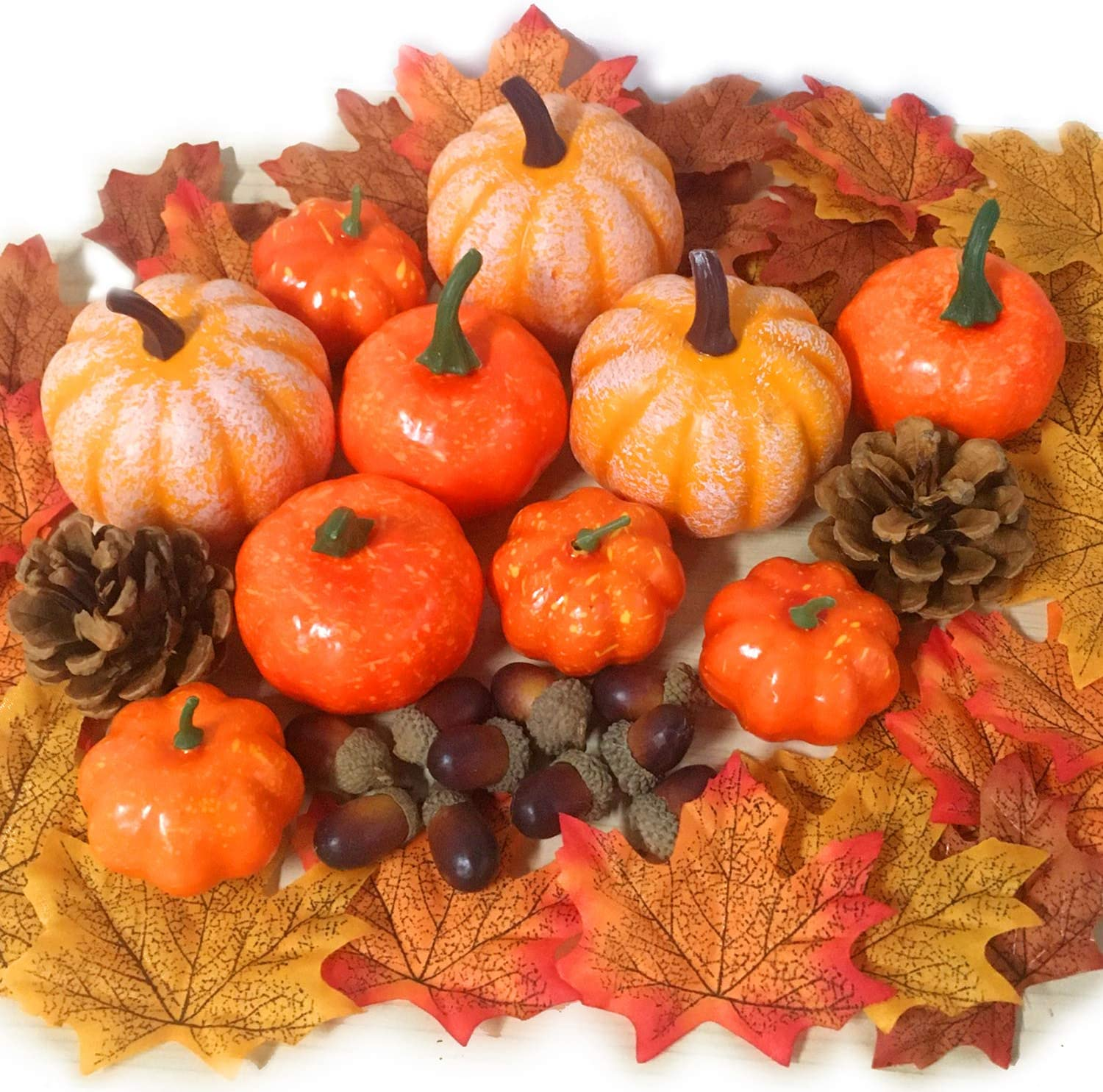 52 PCS Thanksgiving Artificial Pumpkins Home Decoration Set, Pine Cones, Acorns, Maple Leave Fall Wedding Party Table Fireplace Harvest Decor, Artificial Vegetables for Autumn Thanksgiving Home Décor