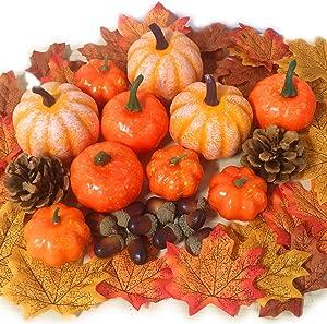 52 PCS Thanksgiving Artificial Pumpkins Home Decoration Set, Pine Cones, Acorns, Maple Leave Fall Wedding Party Table Fireplace Harvest Decor, Artificial Vegetables for Autumn Thanksgiving Home Décor