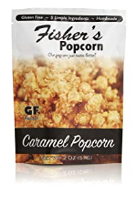 Fisher's Popcorn Caramel Popcorn, Gluten Free, 5 Simple Ingredients, Handmade, No Preservatives, No High Fructose Corn Syrup, Zero Trans Fat, 2oz Bags (Case of 50)