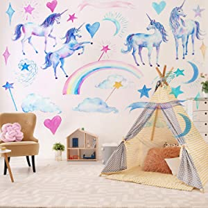2 Sheets Unicorn Wall Decal Stickers, Large Size Unicorn Rainbow Wall Decor for Girls Kids Bedroom Nursery Christmas Birthday Party Decoration