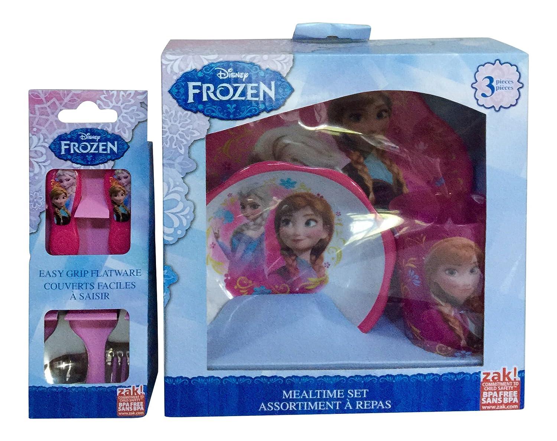 Zak Frozen Mealtime Set and Easy Grip Flatware Set Bundle by Disney   B01506XQTA