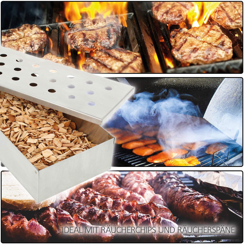aus rostfreiem Edelstahl com-four/® R/äucherbox f/ür Smoker Kugel und Gas-Grill Smokerbox f/ür tolles Raucharoma beim BBQ