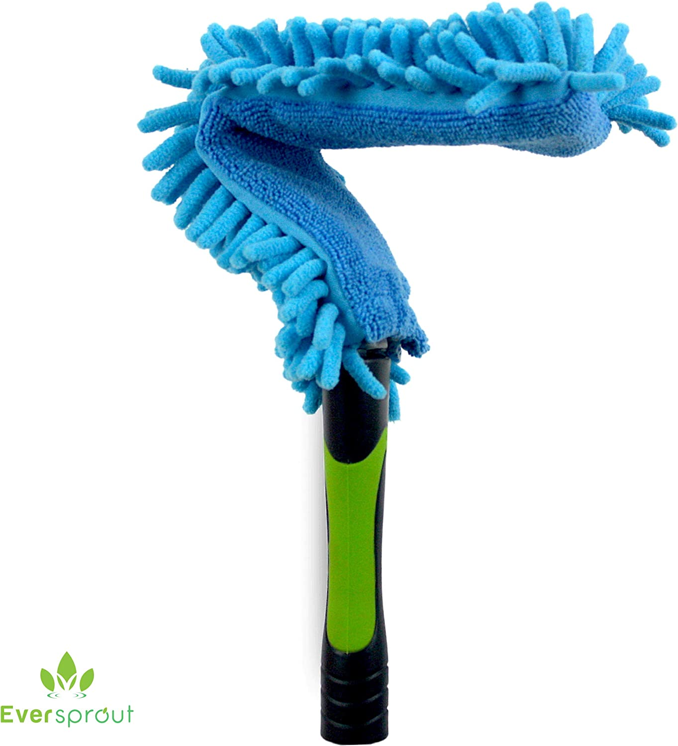 EVERSPROUT Flexible Microfiber Ceiling & Fan Duster | 17'' Duster Head | Removable & Washable Sleeve | Bends to Clean Any Fan Blade | Twists onto Standard US Threaded Poles (Pole Sold Separately)