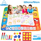 Omew Water Doodle Mat, Water Drawing Painting Mat Larger Size 120 X 90cm Mess-Free Aqua Magic Mat with 6 Magic Pens, 8 Stamps, 1 Mould and 1 Drawing Booklet for Kids Boys Girls