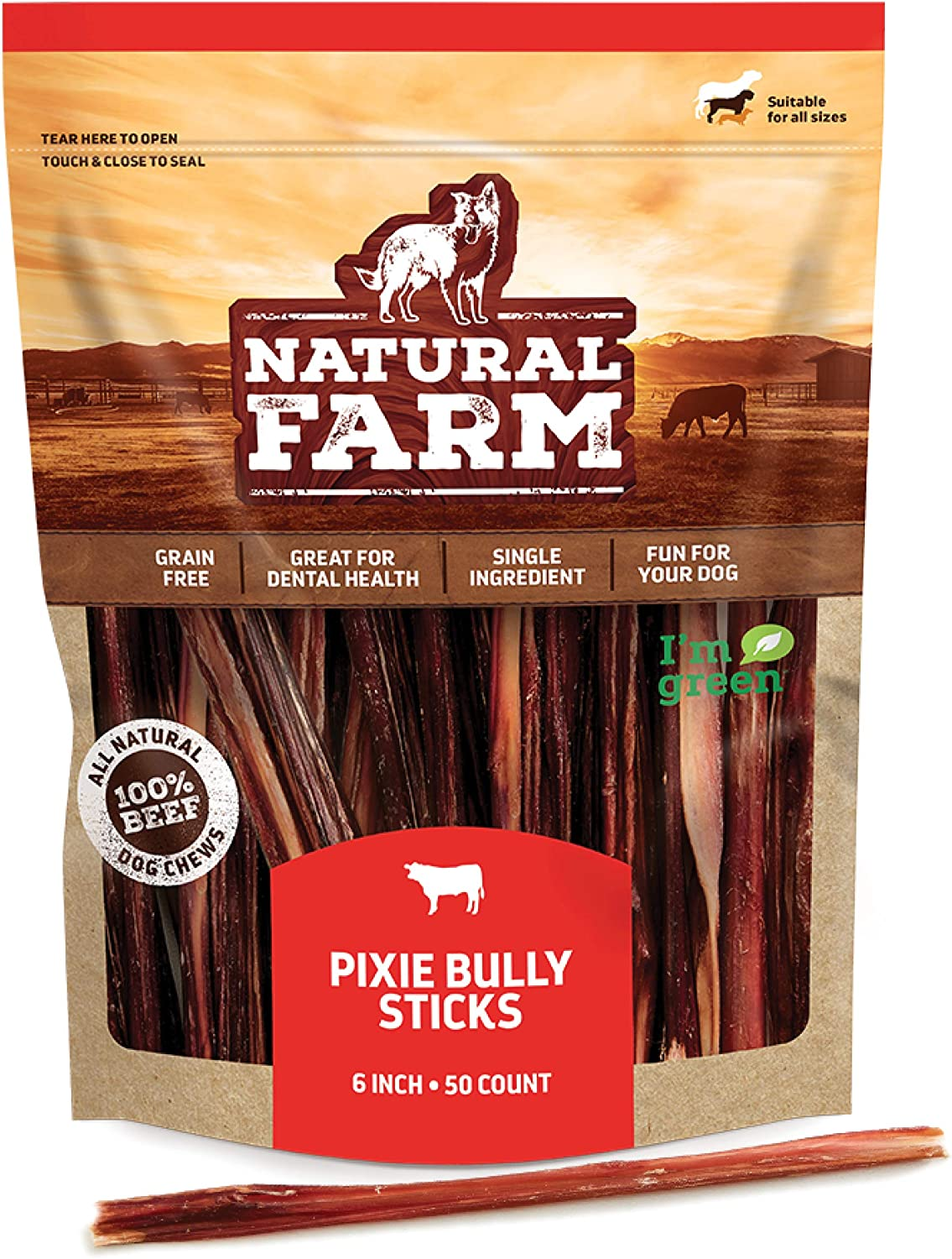 """Natural Farm Pup 6"""" Pixie Bully Skin Sticks (30 & 50-Pack), Extra-Thin, Hollow, Fast Chewing Pet Treats - Grain-Free, High Protein, Best Rawhide Alternative for All Small, Puppies or Senior Dogs"""
