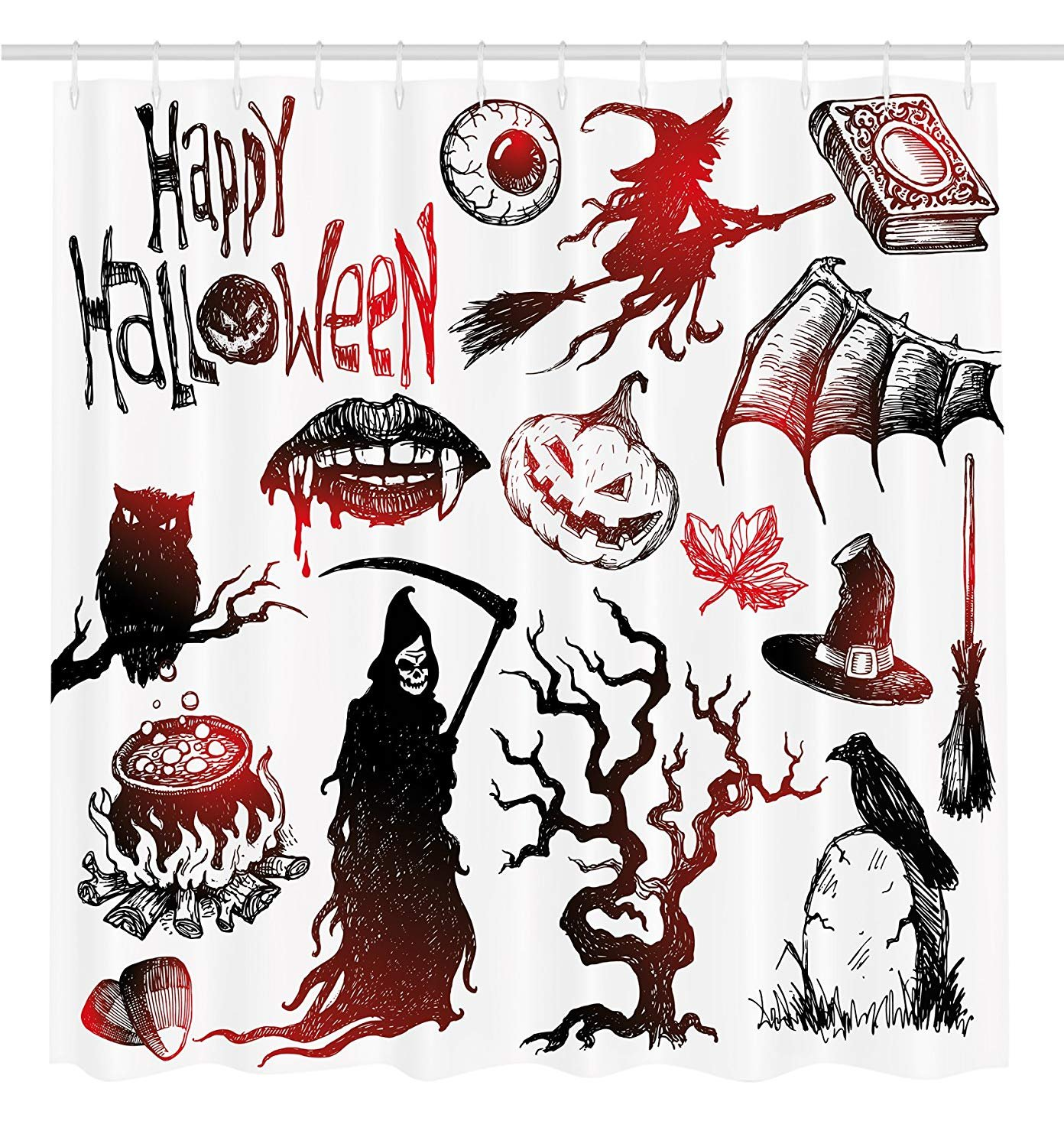 Yomyceo Halloween Decorations Collection, Halloween Objects Scary Retro Evil Dead Skeleton Witch and Magic Book Picture, Polyester Fabric Bathroom Shower Curtain Set with Hooks, 72x72
