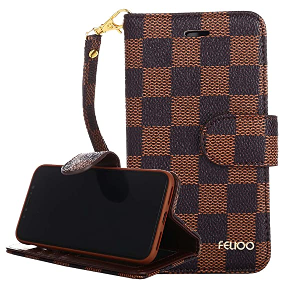 new styles 0c269 a54c5 iPhone X Case,GX-LV iPhone X Luxury Classic Plaid Pattern Wrist Strap  Leather Wallet Case Flip Folio Case Cover with Card Slot Holder and Stand  for ...