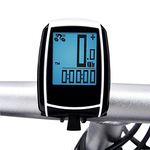Wireless Bike Computer, Elinker Cycle Computer with Large LCD Backlight and Motion Sensor for Tracking Riding Speed and Distance - Automatic Wake-up, Bicycle Computer, Bike Computer Odometer Speedometers, Waterproof Bike Computer