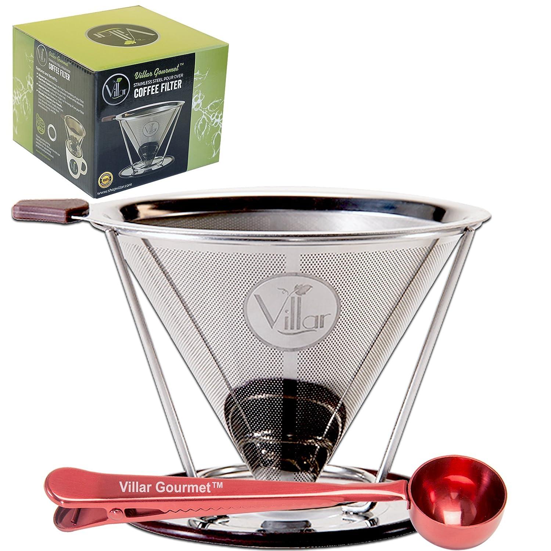 Villarグルメステンレススチールpour OverコーヒーフィルタDripper &ボーナスコーヒースクープW /内蔵バッグクリップ – Makes 1 to 4 Cups – FDA認定安全   B01LQG41QK