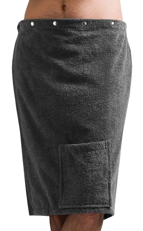 colore grigio antracite 100 /% cotone Framsohn Costume per sauna Kilt da uomo FUN con bottoni e tasca applicata