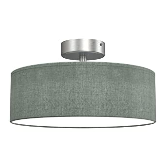 Deckenlampe 3 x E14 max Stoff 40 Watt Stoffleuchte Stoffschirm Farbe: Taupe-Satin /Ø 40cm Briloner Leuchten Deckenleuchte W