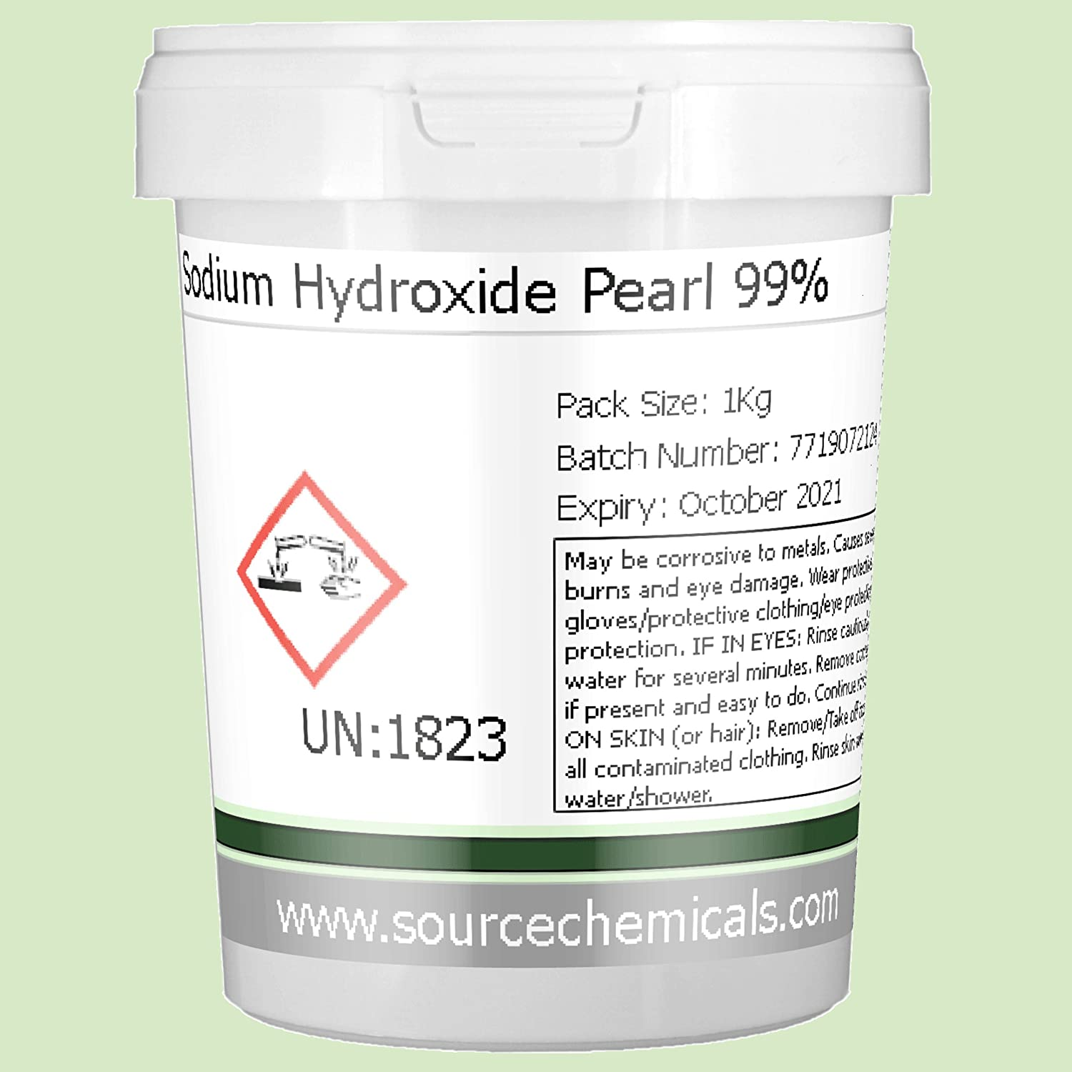 Sodium Hydroxide (Caustic Soda) 1Kg Including Courier Delivery Source Chemicals SOH-1KG-FR