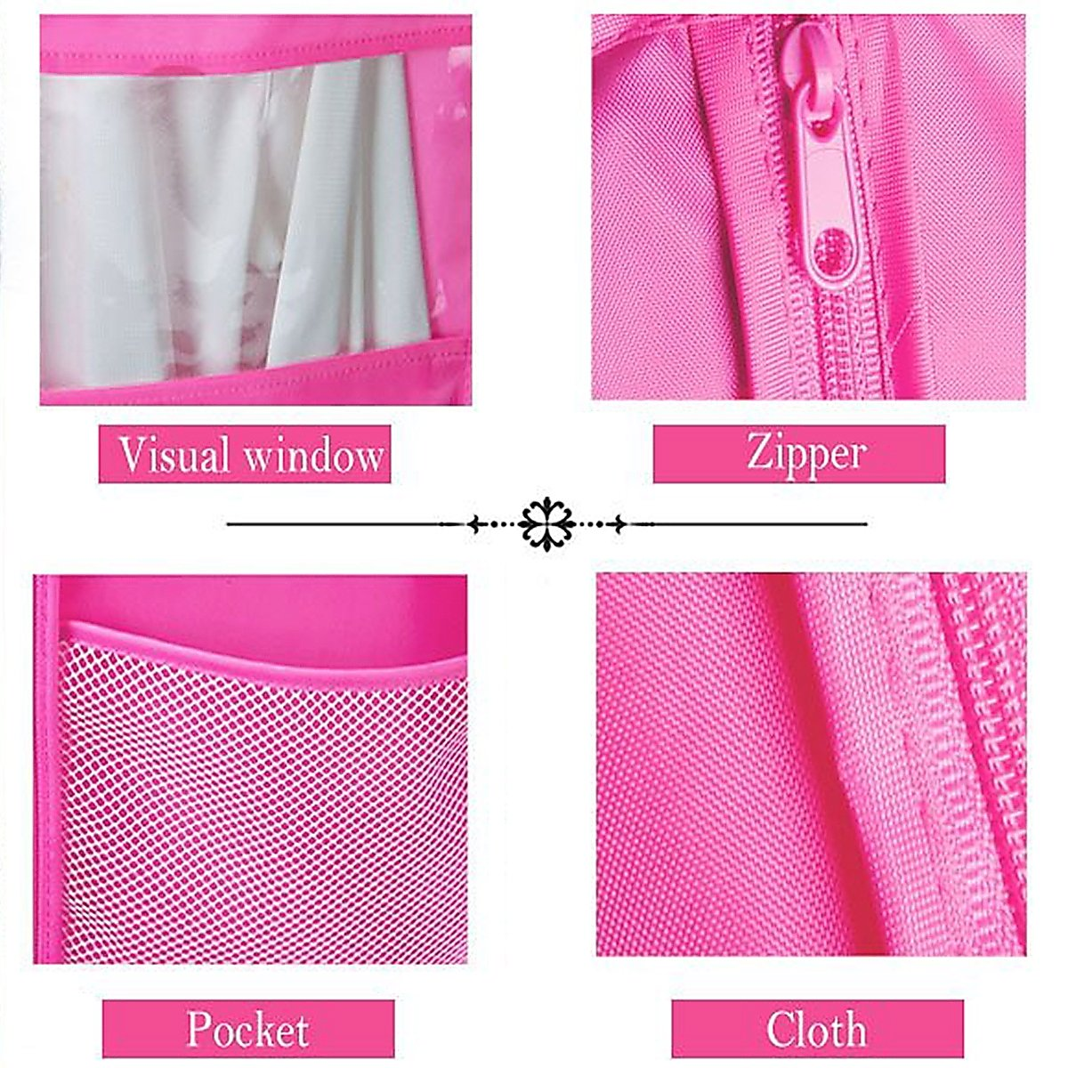 Kernorv Garment Bags for Dance Costumes, Set of 5 Breathable Dust-proof Garment Bags 51'' Dance Garment Bags with Clear Window for Dance Costumes, Dress, Jacket, Storage or Travel (Pink) by Kernorv (Image #4)