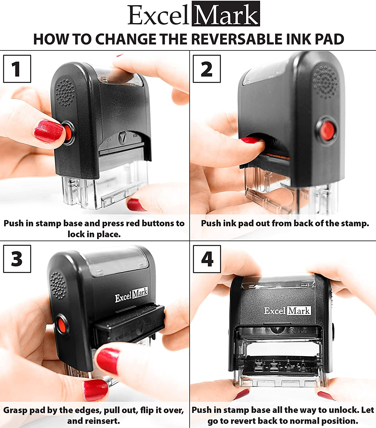 A1539-3 Lines Home or Office ExcelMark Custom Self Inking Rubber Stamp