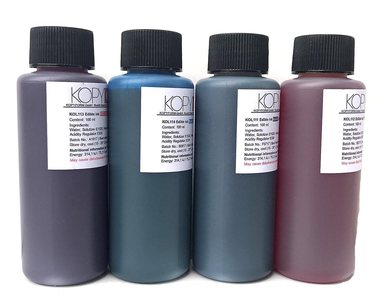 Bramacartuchos - 4 X Botellas de tinta comestible de 100ml para usar con impresoras Canon