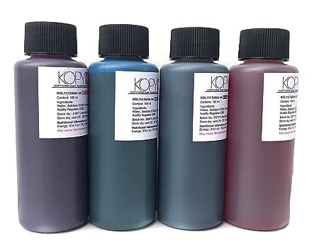4 X Botellas de tinta comestible de 100ml compatible con ...