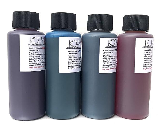Botella de tinta comestible de 100ml - Color Cian para usar con impresoras Canon. Bramacartuchos, envío desde Madrid (Cian)