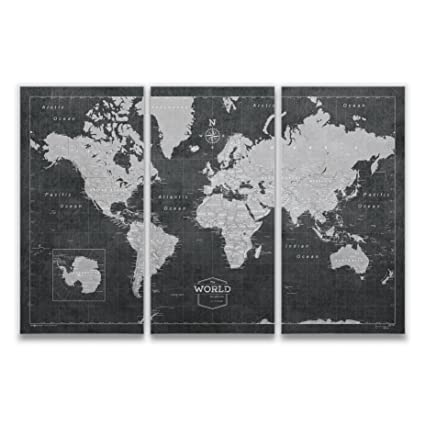 Amazon.com: Conquest Maps World Travel Map with Pins Modern Slate ...
