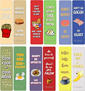 Creanoso Funny Food Sayings Bookmarks (12-Pack) – Stocking Stuffers Gift for Men, Women, Adult, Teens – Party Favors Supplies – Rewards Gifts – Premium Gift Set – Corporate Giveaways