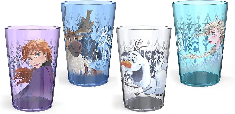 Zak Designs 14.5oz Disney Frozen 2 Nesting Tumbler Set Includes Durable Plastic Cups, Fun Drinkware is Perfect for Kids, 4pk (14.5oz, Anna & Elsa & Olaf)