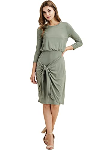 Modest Shop LA Knee Length Wrap Dress (Olive, Medium)