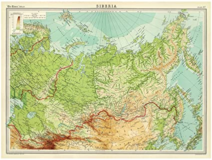 Where Is Siberia On A World Map.Amazon Com World Atlas 1922 Siberia Historic Antique Vintage