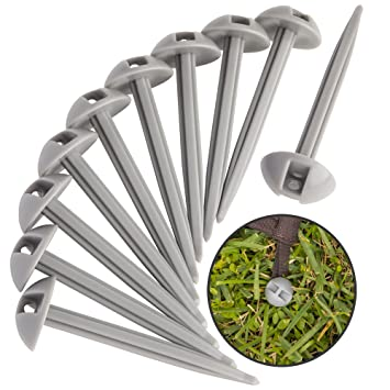 Awesome 10 Strong Polypropylene Stake Set For Grass, Soil   Anchoring Blankets,  Patio Rugs,