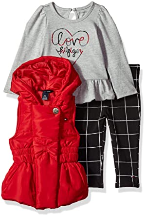 dedc0465 Tommy Hilfiger Baby Girls' 3 Pc Jacket Set, red/Print/Grey Denim