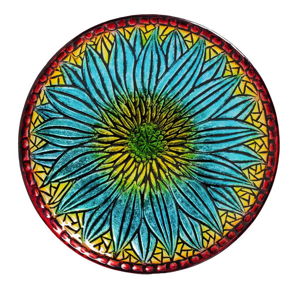 Evergreen Bold Floral Glass Birdbath Bowl, 18-inches