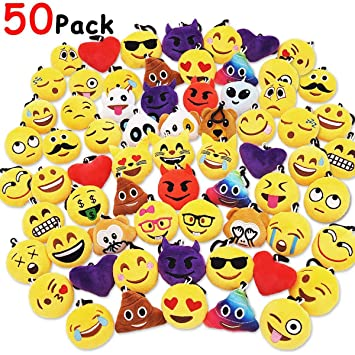 50 Piezas Mini Emoji Felpa Llavero Emoji Fiesta de cumpleaños, decoración, decoración de la Pared y Favor de Fiesta (50pcs)