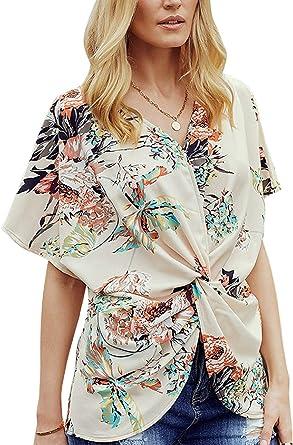 Blusa Casual Anudada con Cuello En Camiseta Floral De Verano ...