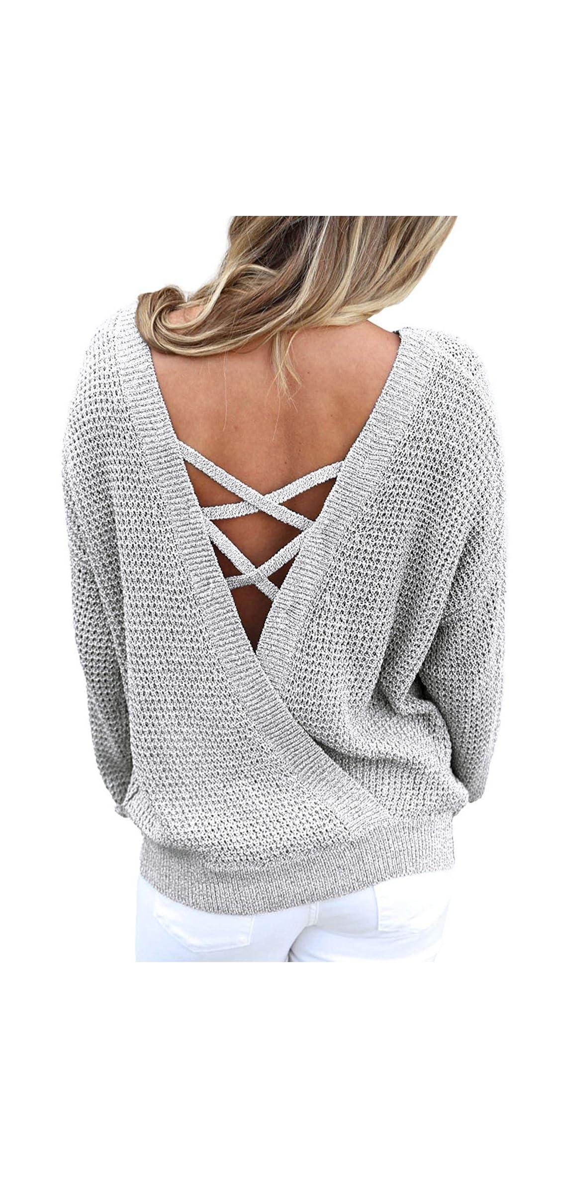 Women's Casual Long Sleeve Pullover Sweater Criss Cross