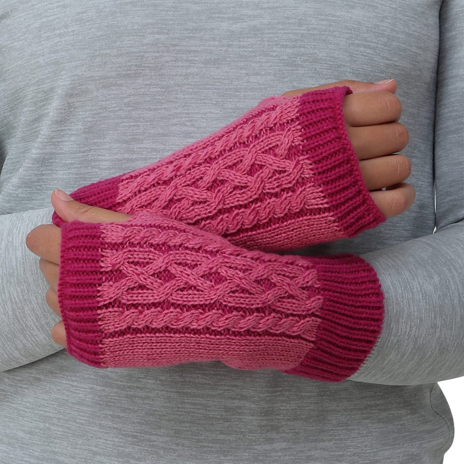 TrailHeads Cable Knit Women's Hand Warmers - black / white