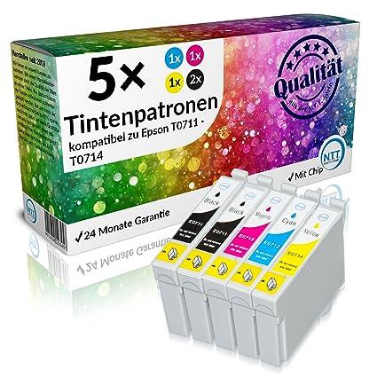 N.T.T.® 5x XL cartuchos de tinta compatible con Epson T711, T712 ...